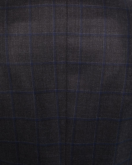 Men's Silk/Wool Windowpane Check Jacket