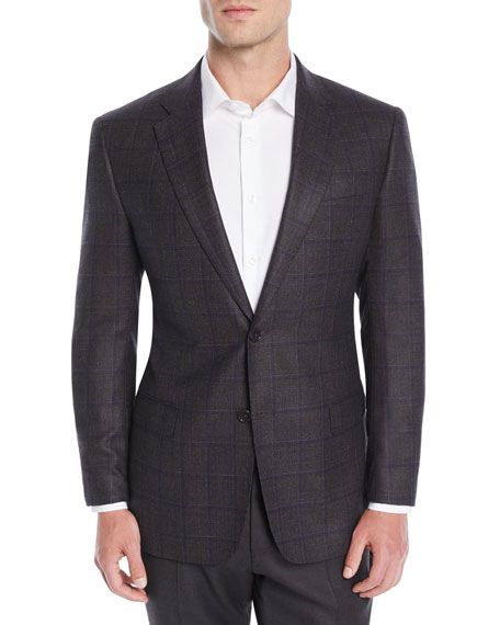 Emporio Armani Men's Silk/Wool Windowpane Check Jacket