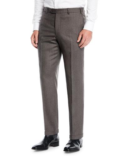 Men's Melange Flat-Front Trousers