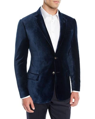 Men's Liquid Velvet Two-Button Jacket
