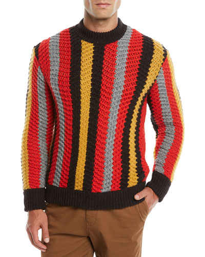 Men's Striped Cashmere-Wool Crewneck Sweater