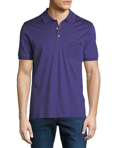 Men's Contrast-Trim Jersey Polo Shirt