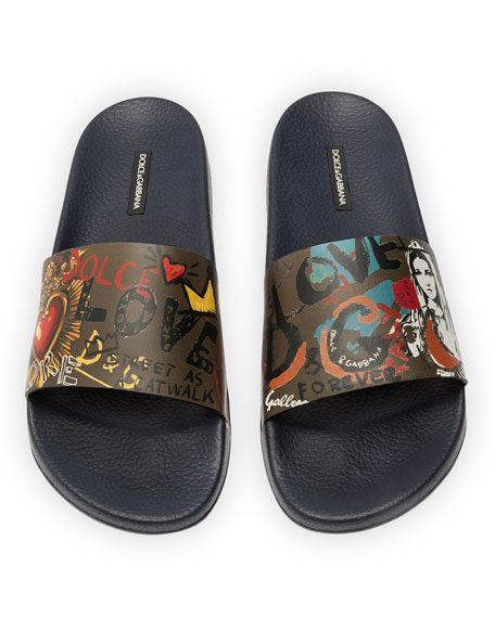 Men's Madonna Graffiti-Print Leather Pool Slide Sandals