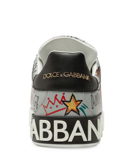 Men's Portofino Graffiti Leather Low-Top Sneakers