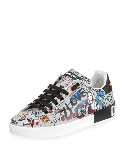 Men's Portofino Graffiti Leather Low-Top Sneakers