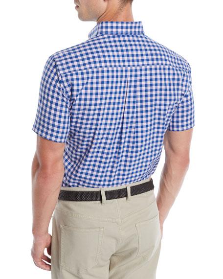 Men's Crown Finish Mont Blanc Check Short-Sleeve Sport Shirt