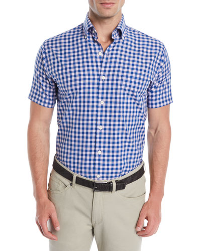 Men's Crown Finish Mont Blanc Check Short-Sleeve Sport Shirt