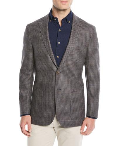 Men's Crown Soft Check Wool-Blend Blazer Jacket