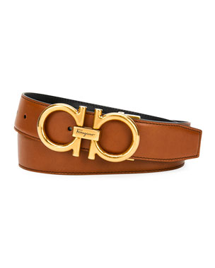 db8e18b9756 Salvatore Ferragamo Men s Double-Gancio Reversible Leather Saddle Belt