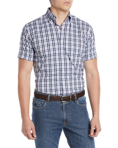 Peter Millar Men's Crown Comfort Moritz Check Short-Sleeve