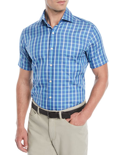 Men's Crown Soft Adrian Grand Tattersall Short-Sleeve Sport Shirt