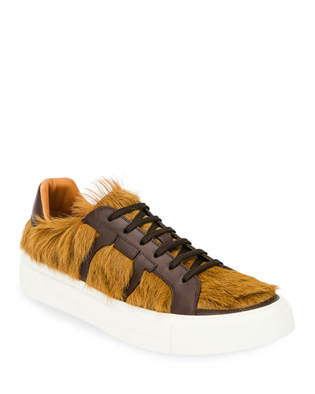 Salvatore Ferragamo Men's Bolson Fur Low-Top Sneakers