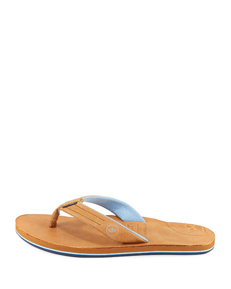 x Peter Millar Men's Leather Thong Sandals, Walnut