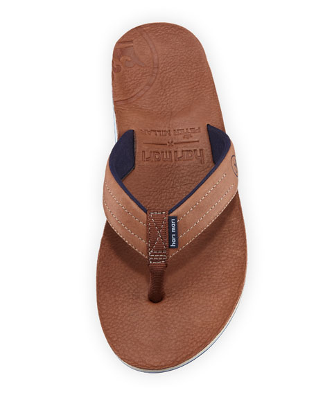 x Peter Millar Men's Leather Thong Sandals, Chocolate