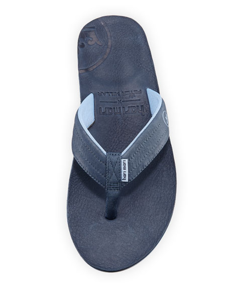 x Peter Millar Men's Leather Thong Sandals, Navy