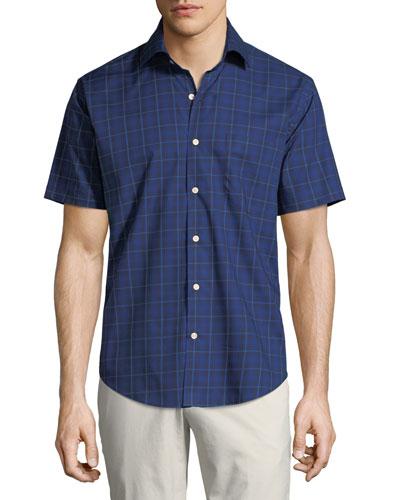 Men's Crown Ease Rhine Valley Tartan Short-Sleeve Sport Shirt