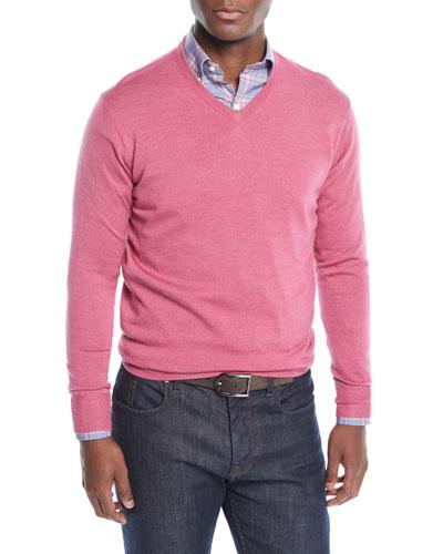 Men's Crown Soft Wool/Silk V-Neck Sweater