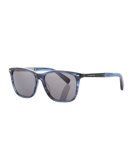 Ermenegildo Zegna Square Plastic Sunglasses