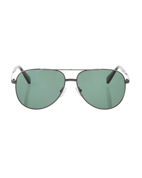 Metal Double-Bar Aviator Sunglasses