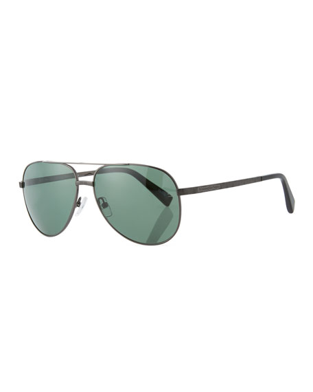 Ermenegildo Zegna Metal Double-Bar Aviator Sunglasses