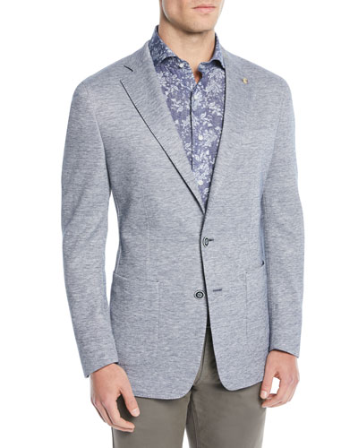 Men's Santorini-Knit Chambray Soft Blazer Jacket