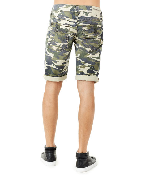 Men's Ricky Camouflage Flap-Pocket Rolled-Cuff Denim Shorts