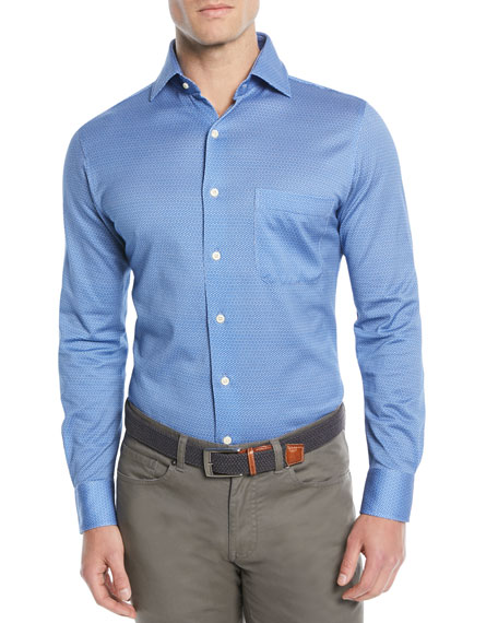Peter Millar Men's Schwinn Dot-Print Sport Shirt