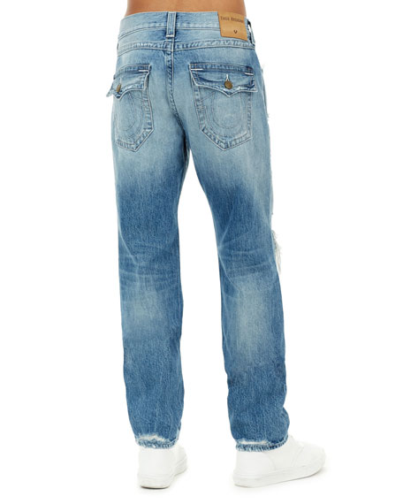 Men's Geno Flap-Pocket Distressed Slim-Straight Jeans
