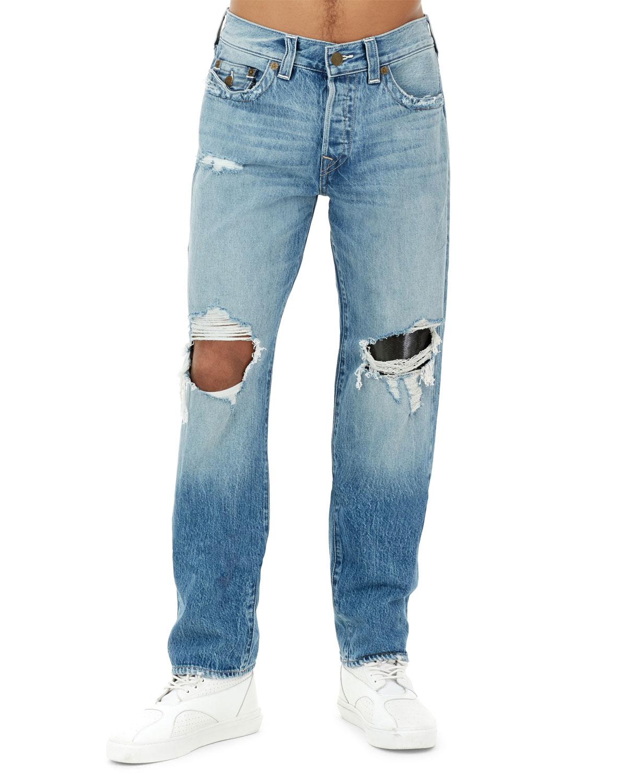4170325e8a0 True Religion Men s Geno Flap-Pocket Distressed Slim-Straight Jeans ...