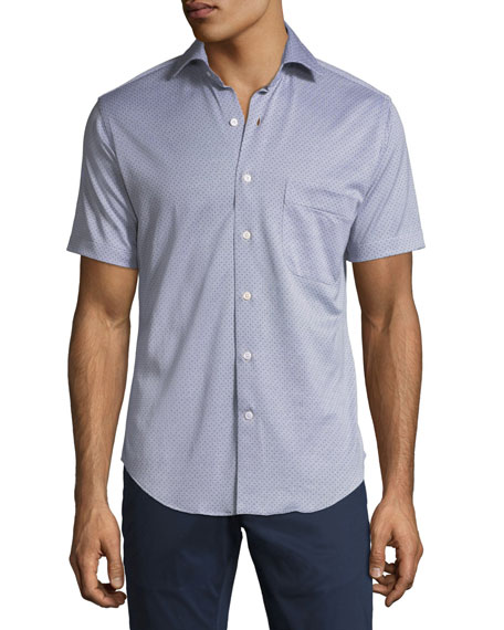 Men's Constellation-Print Short-Sleeve Sport Shirt