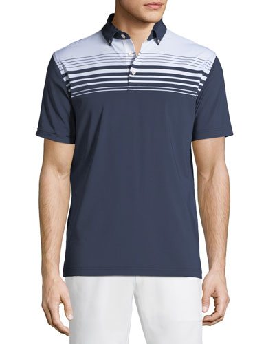 Men's Engineer-Striped Stretch Jersey Polo Shirt