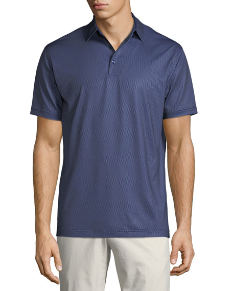 Men's Geo Star Neat-Print Stretch Jersey Polo Shirt