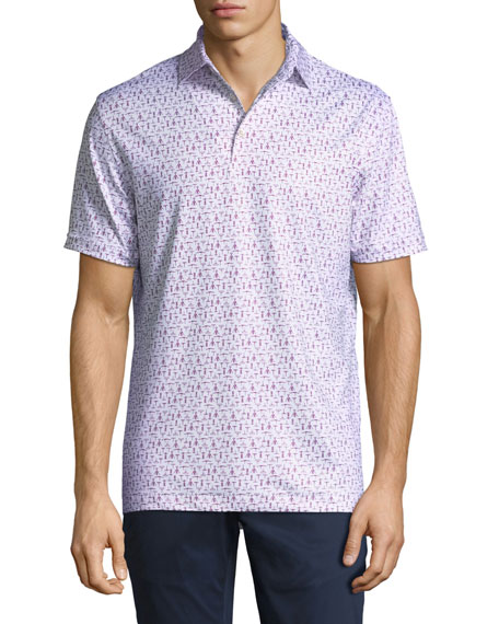 Men's Corkscrew-Print Jersey Polo Shirt