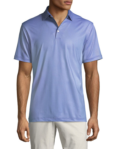 Peter Millar Men's Micro Links-Print Stretch Jersey Polo