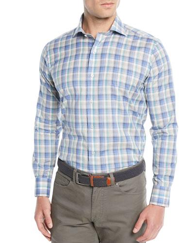 Men's Saronic Melange Check Sport Shirt