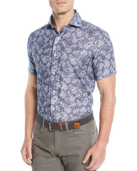 Men's Coastal Cliffs Floral Chambray Short-Sleeve Sport Shirt