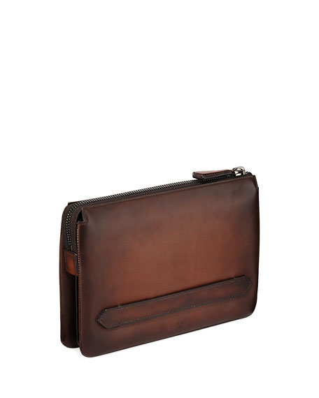 BERLUTI MEN'S TERSIO VENEZIA LEATHER POUCH