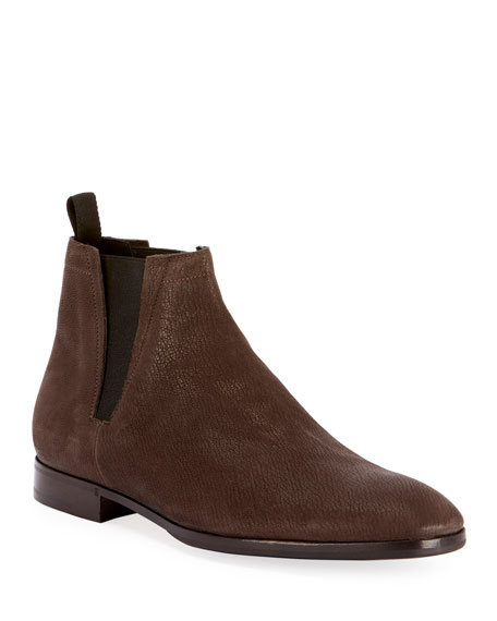 BERLUTI Men'S Lorenzo Goat Suede Chelsea Boot in Brown