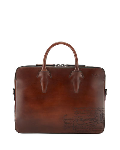 Men's Profil Scritto Leather Briefcase