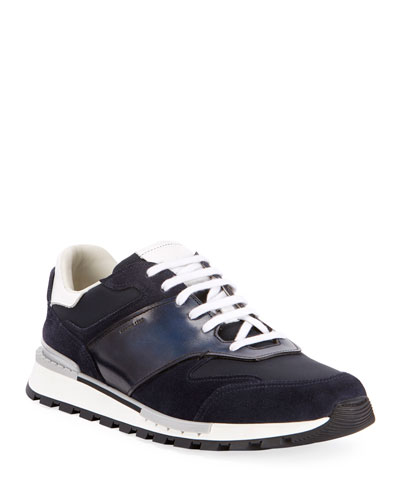 Men's Suede/Leather Low-Top Runner Sneaker, Navy