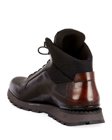 Men's Glazed Calf Leather Hiking Boots