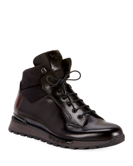 BERLUTI Men'S Glazed Calf Leather Hiking Boots in Black
