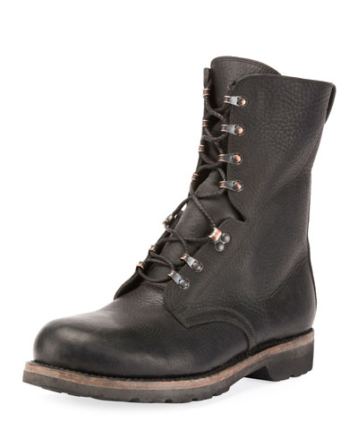 Men's Replica Leather Lace-Up Motorcycle Boot