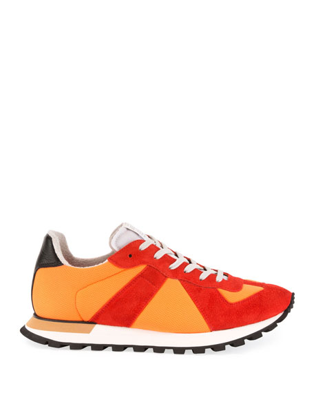 Men's Replica Nylon & Suede Sneakers, Orange