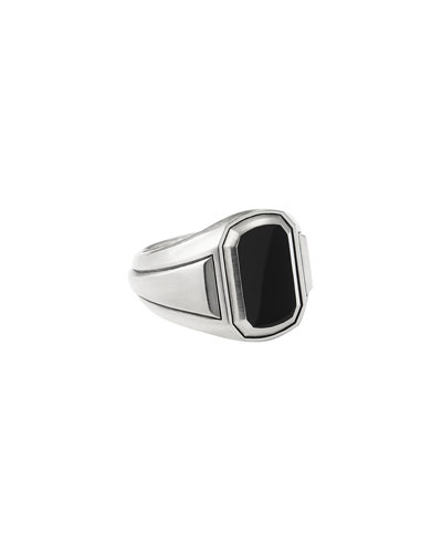 Men's Deco Signet Ring with Black Onyx Inlay