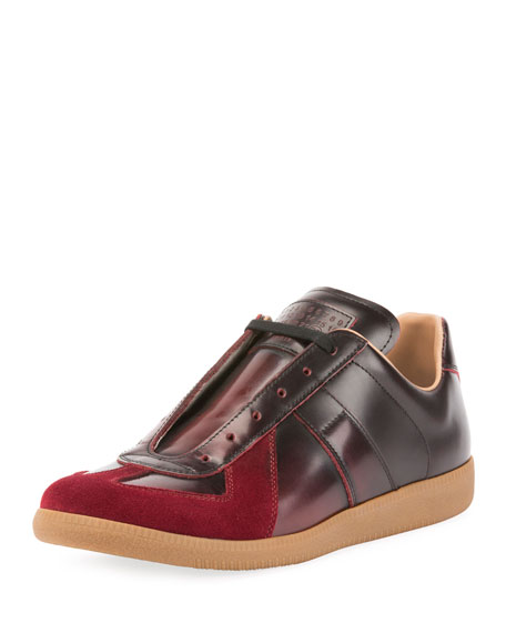 Maison Margiela Men's Replica Burnished Leather Low-Top Sneakers