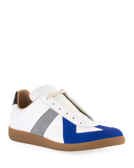 Maison Margiela Men's Replica Colorblock Leather Low-Top Sneakers