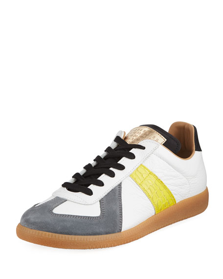 Maison Margiela Replica Men's Contrast-Trim Leather & Suede
