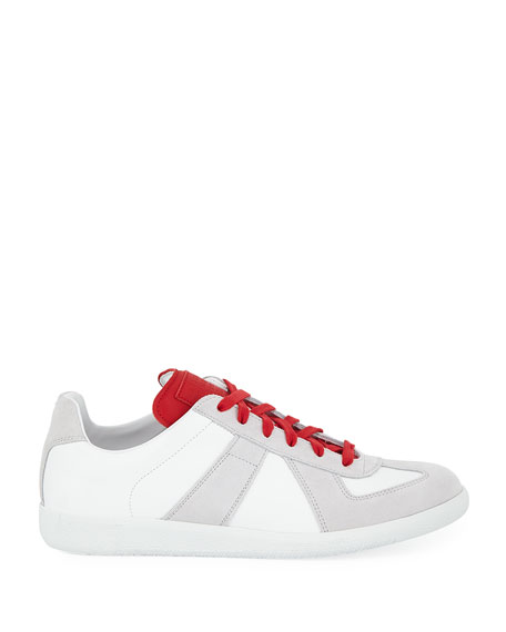 Men's Replica Leather & Suede Low-Top Sneaker with Contrast Trim
