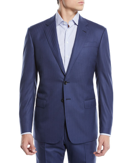 Giorgio Armani Men's Two-Piece Herringbone Super 180s Wool